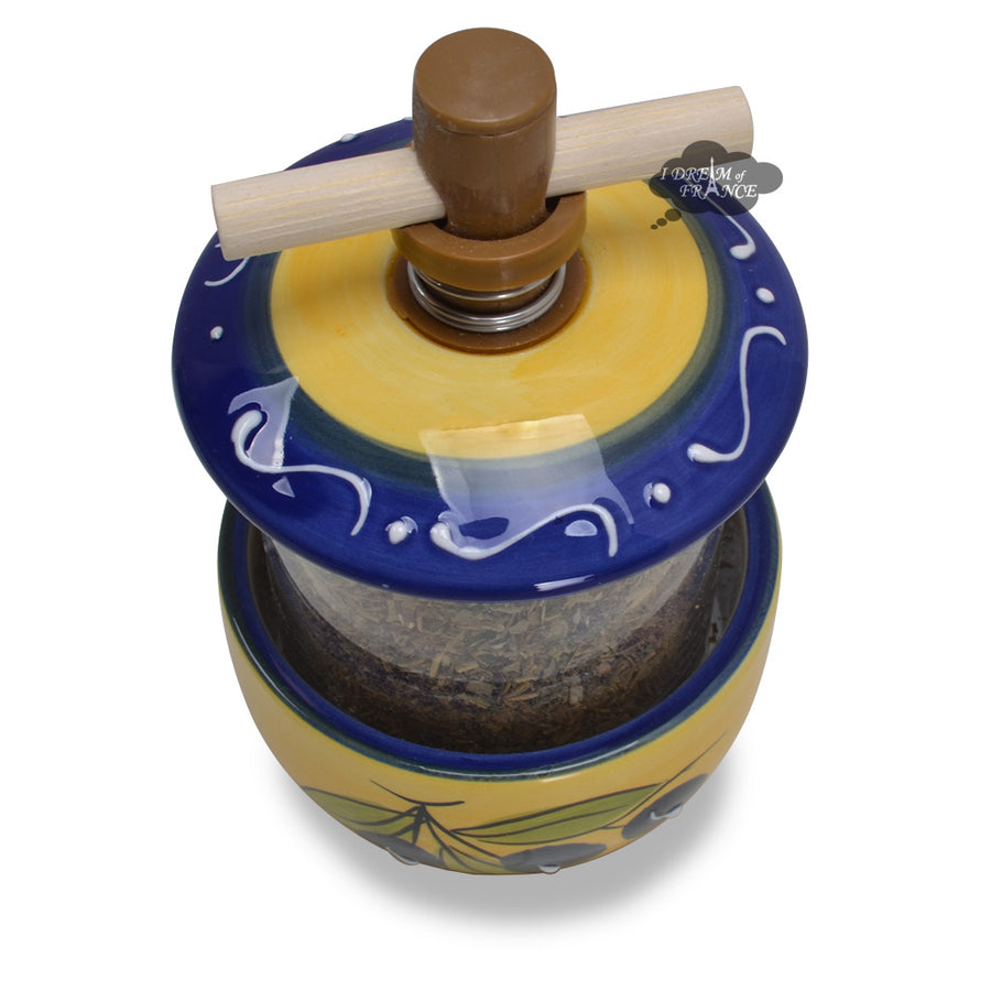 Ceramic Mill with Herbes de Provence - Olives Blue