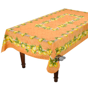 "Citrus Orange French Provencal Polyester Tablecloth - 59x92"" Rectangular"