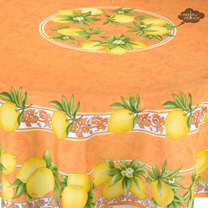 Citrus Orange French Provencal Tablecloth - Round