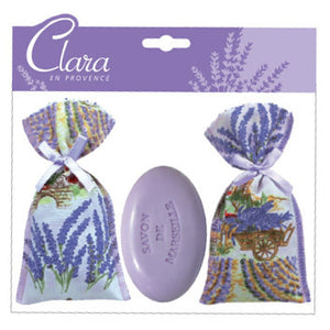 Two Lavender Sachets & Soap by Clara en Provence
