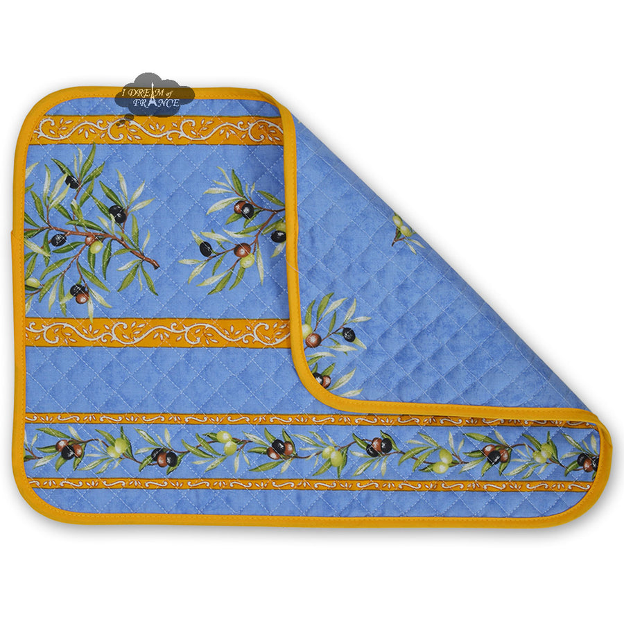 Clos des Oliviers Blue Cotton Quilted Placemats