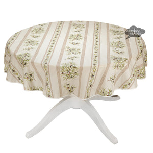 "58"" Round Clos des Oliviers Cream Cotton Tablecloth by L'ensoleillade"
