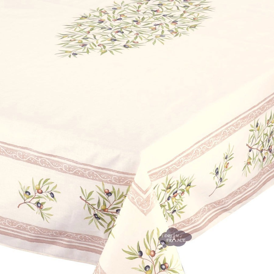 "60x96"" Rectangular Clos des Oliviers Cream Coated Cotton Tablecloth by l'Ensoleillade"