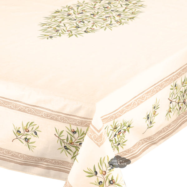 "60x78"" Rect Clos des Oliviers Cream Coated Cotton Tablecloth"