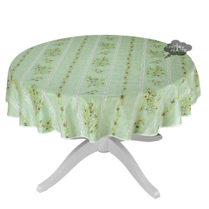 "58"" Round Clos des Oliviers Green Acrylic Coated Cotton Tablecloth by L'ensoleillade"