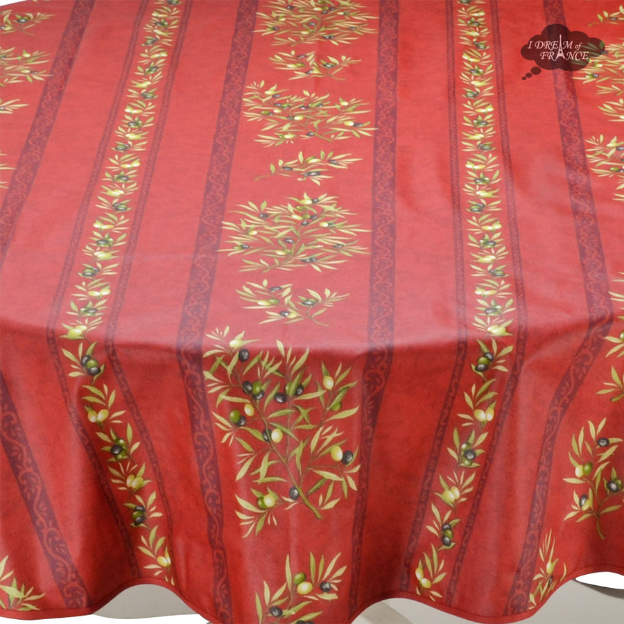 "58"" Round Clos des Oliviers Red Acrylic Coated Cotton Tablecloth by L'ensoleillade"