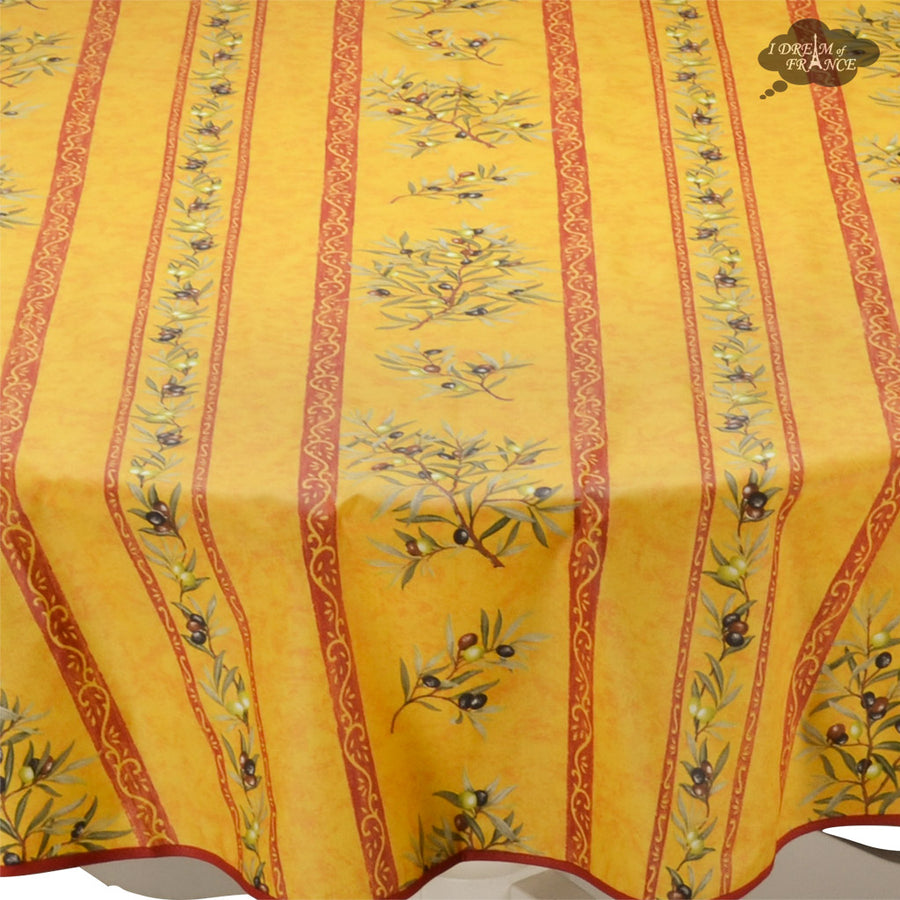 "58"" Round Clos des Oliviers Yellow Acrylic Coated Cotton Tablecloth by L'ensoleillade"