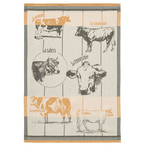 Cattle Breeds (Races Bovines) French Jacquard Dish Towel by Coucke
