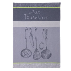In the Kitchen (Aux Fourneaux) French Jacquard Dish Towel by Coucke