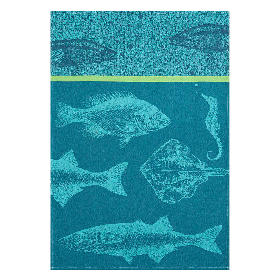 Coucke Banc de Poisson (Shoal of Fish) French Jacquard Dish Towel