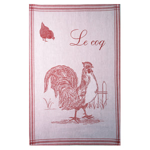 Le Coq (Rooster) French Jacquard Dish Towel by Coucke