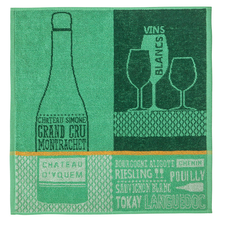 Vins Blancs (White Wines) Terry Square Towel by Coucke
