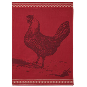 Red Hen (Poule Rousse) French Jacquard Dish Towel by Coucke