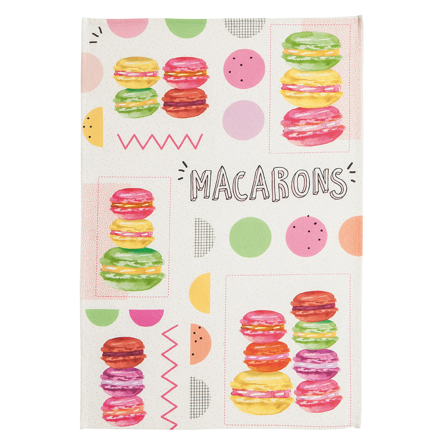 Coucke Macarons en Fete French Cotton Dish Towel