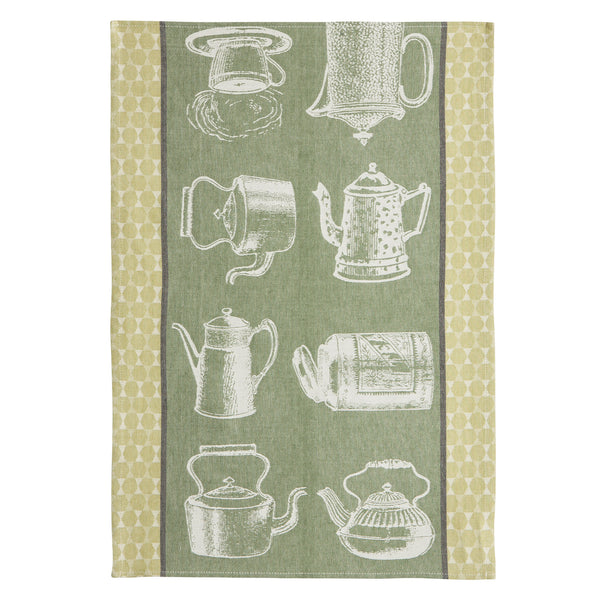 Coucke Tea Pots at Play French Jacquard Dish Towel