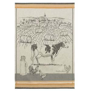 Dairy Cattle (Vaches Laitières) French Jacquard Dish Towel by Coucke