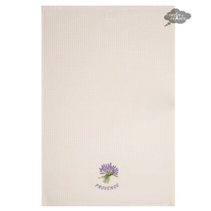 Lavender Cream Waffle Weave Kitchen Towel by Tissus Toselli