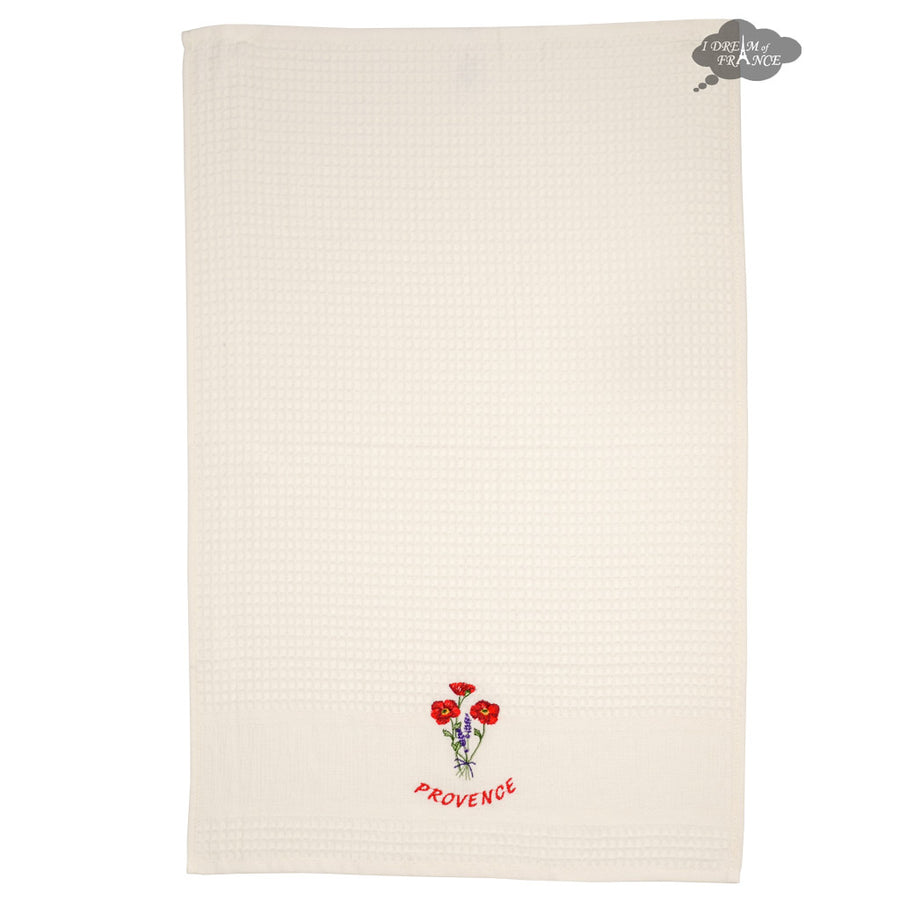 Poppies Cream Waffle Weave Kitchen Towel by Tissus Toselli
