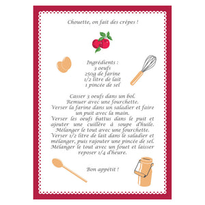 French Crepes Recipe Cotton Kitchen Towel