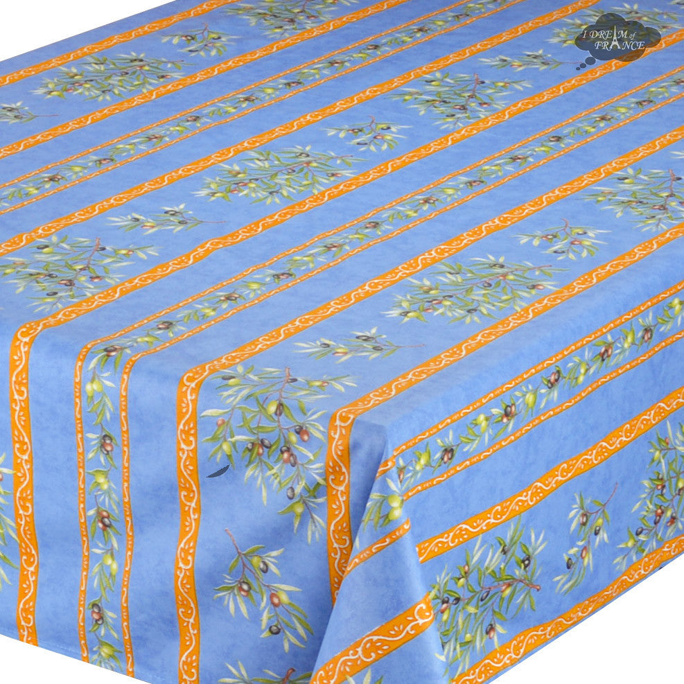 "60x120"" Rectangular Clos des Oliviers Blue Coated Cotton Tablecloth - Closeup"