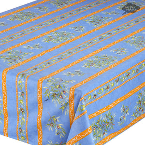 "59"" Square Clos des Oliviers Blue Coated Cotton Tablecloth - Closeup"