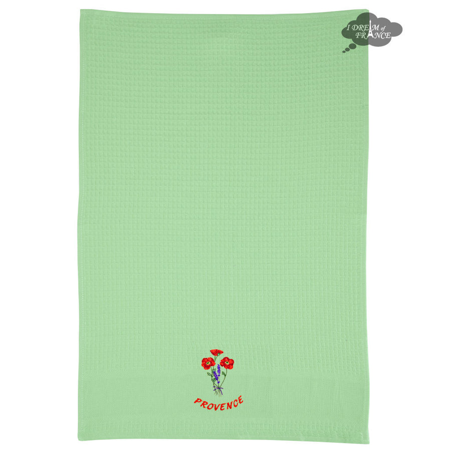 Poppies Green Waffle Weave Kitchen Towel by Tissus Toselli