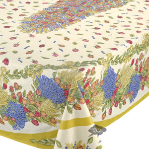"60x 96"" Rectangular Roses & Lavender Coated Cotton Tablecloth / Close Up"