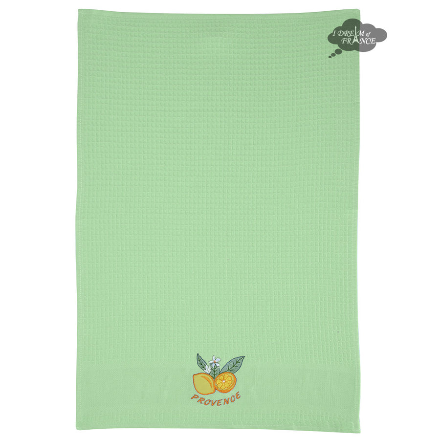 Lemons Green Waffle Weave Kitchen Towel by Tissus Toselli