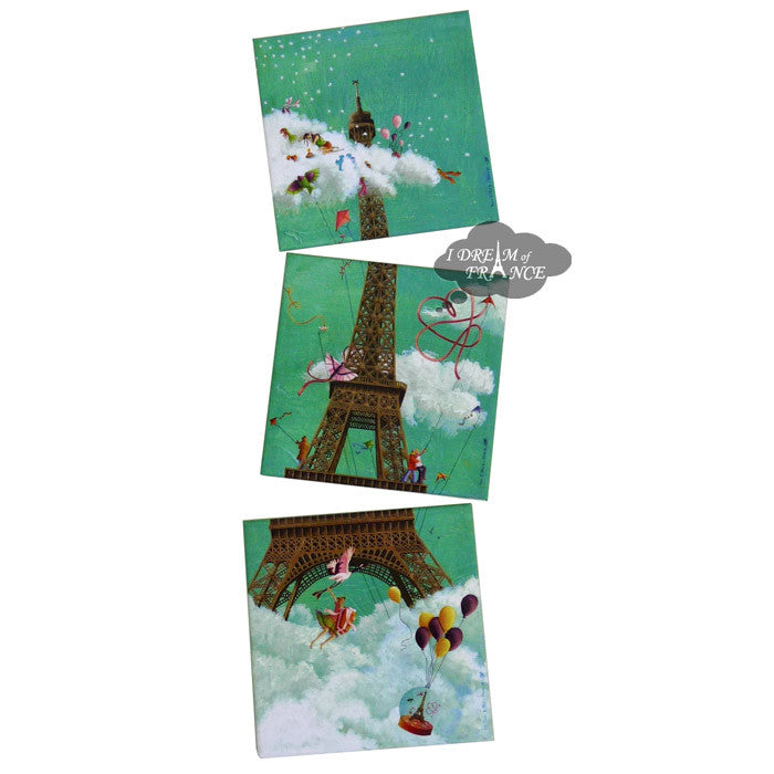 Eiffel Tower in the Clouds Set of Three Magnets