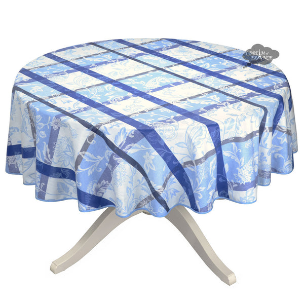 "70"" Round Florentine Blue Acrylic Coated Jacquard Tablecloth by L'Ensoleillade"