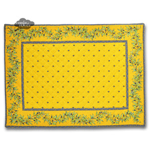 Ramatuelle Yellow & Blue Quilted Placemat by Tissus Toselli