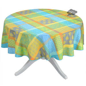 "70"" Round Valescure Green Acrylic Coated Jacquard Tablecloth by L'Ensoleillade"