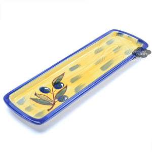 Ceramic Spoon Rest - Yellow Blue Olives