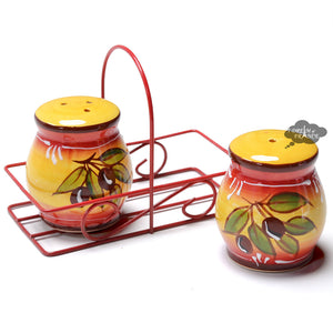 Ceramic Provencal Salt & Pepper Shakers - Olives Yellow & Red