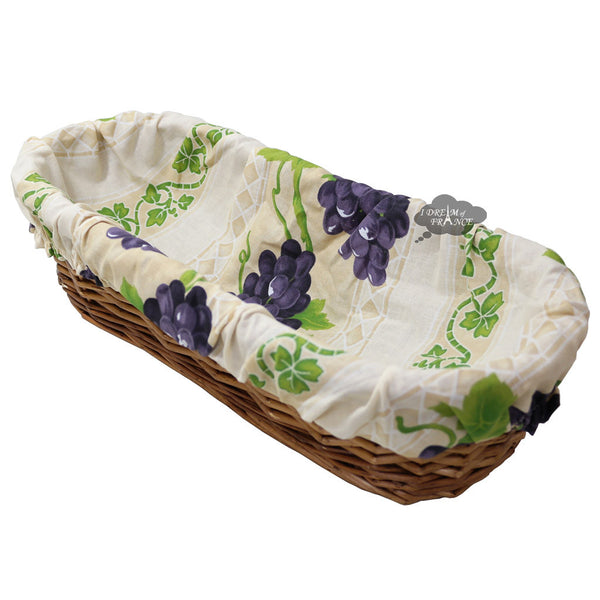 Grapes Cream French Baguette Basket with Removable Liner by Le Cluny