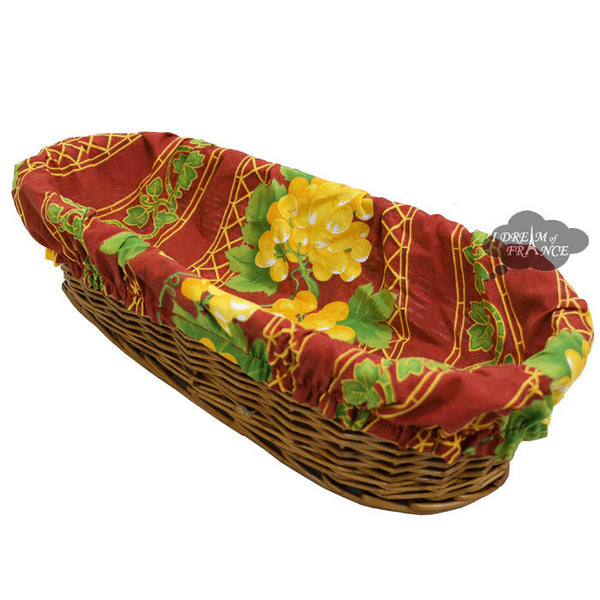 Grapes Red French Baguette Basket with Removable Liner by Le Cluny