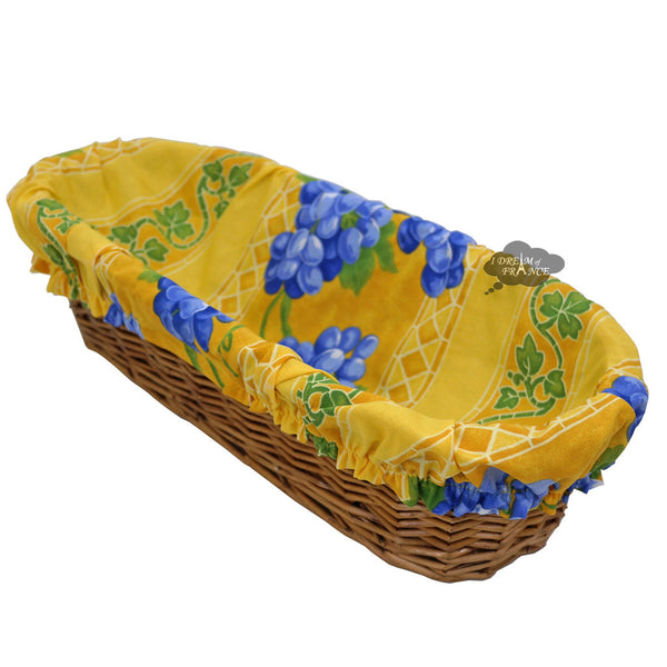 Grapes Yellow French Baguette Basket with Removable Liner by Le Cluny