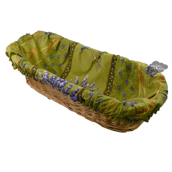 Lavender Green French Baguette Basket with Removable Liner by Le Cluny