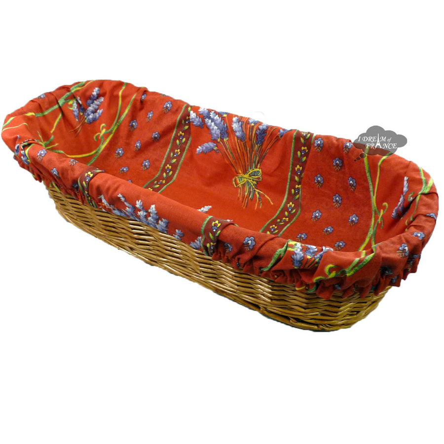 Lavender Red French Baguette Basket with Removable Liner by Le Cluny