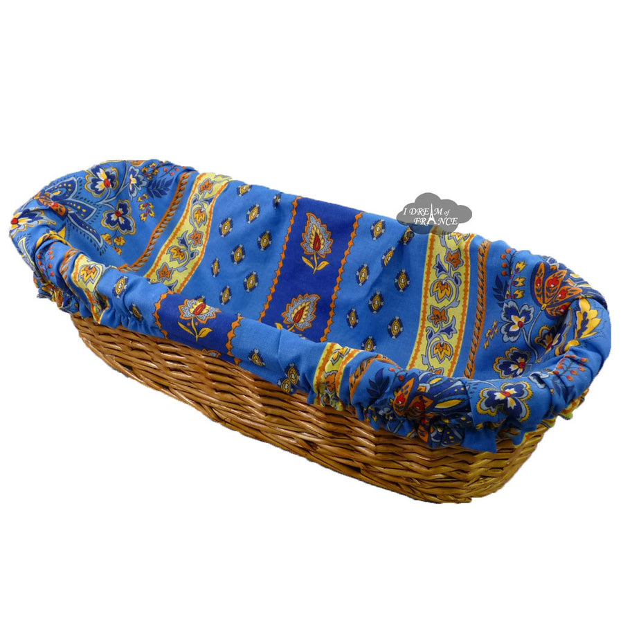 Lisa Blue French Baguette Basket with Removable Liner by Le Cluny