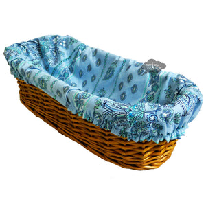 Lisa Turquoise French Baguette Basket with Removable Liner by Le Cluny