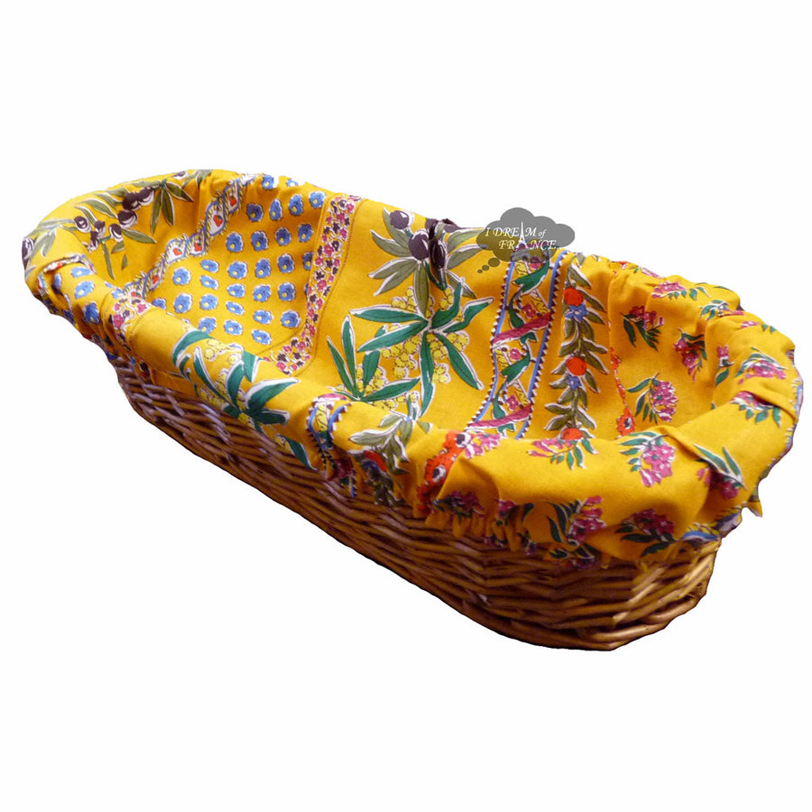 Olives Yellow French Baguette Basket with Removable Liner by Le Cluny