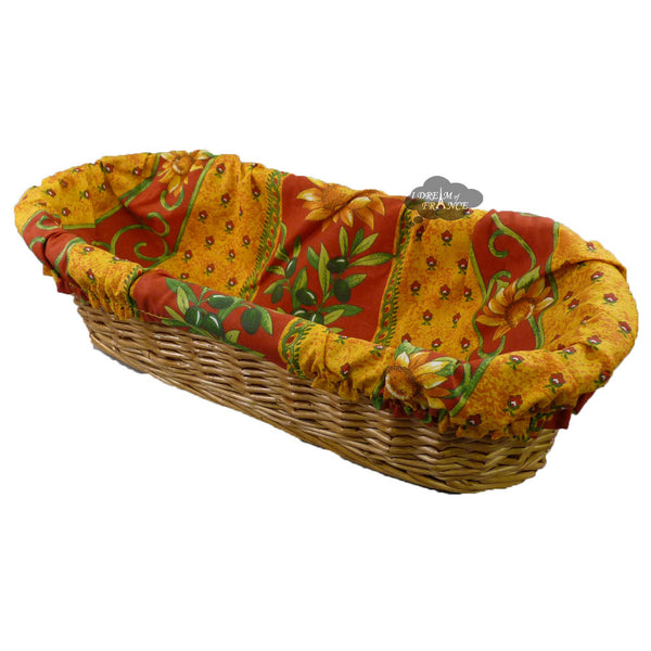 Sunflower Red French Baguette Basket with Removable Liner by Le Cluny