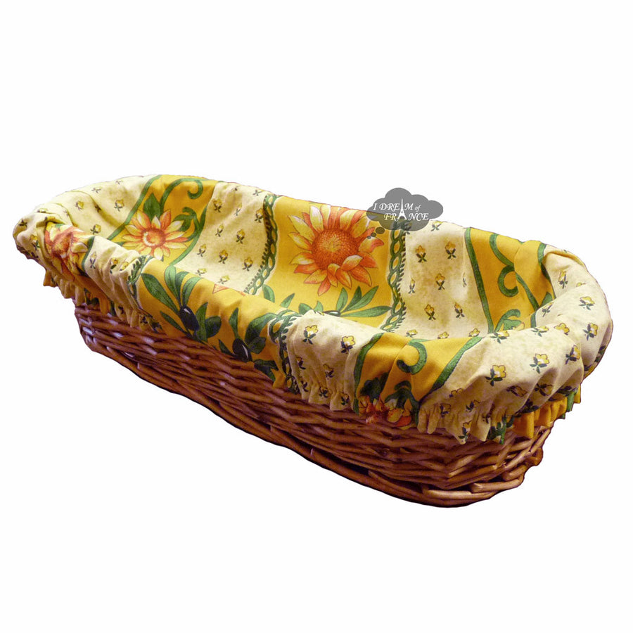 Sunflower Yellow French Baguette Basket with Removable Liner by Le Cluny