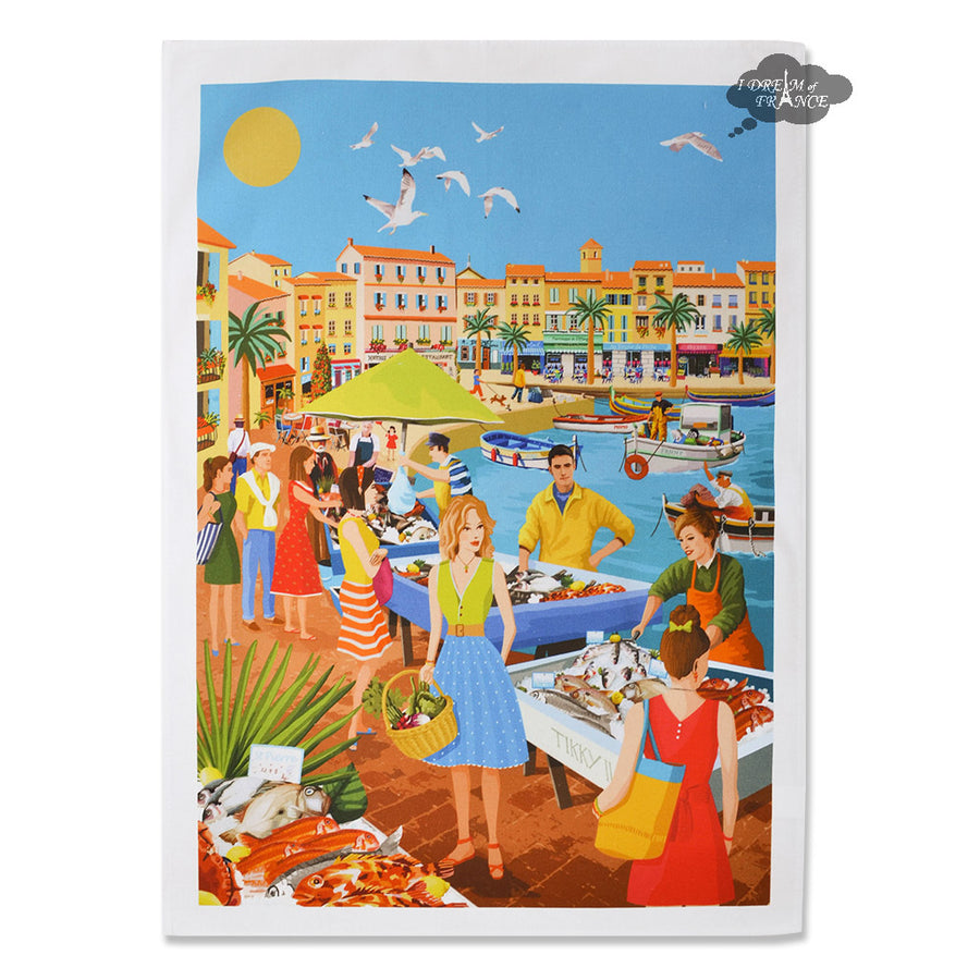 Provence Fish Market French Kitchen Towel by L'Ensoleillade