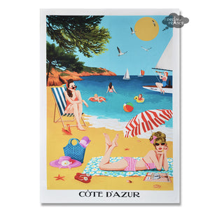 French Riviera Beach Cotton Kitchen Towel by L'Ensoleillade