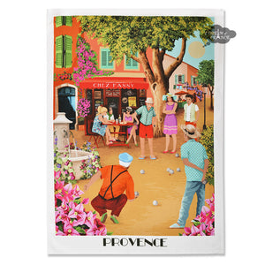 Provence Petanque French Kitchen Towel by L'Ensoleillade
