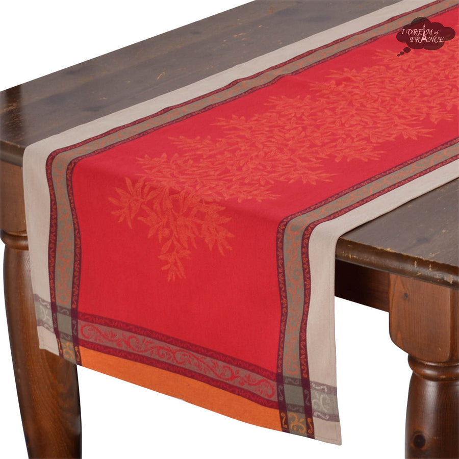 "20x58"" Olives Red Jacquard Cotton Table Runner by L'Ensoleillade"