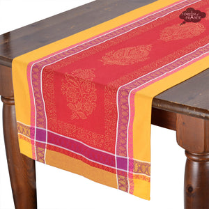 "20x62"" Cassis Red Jacquard Cotton Table Runner with Stain Protection"