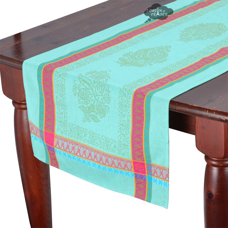 "20x62"" Cassis Turquoise Jacquard Cotton Table Runner with Stain Protection"